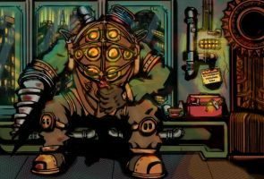 Bioshock Big Daddy Downtime by Hellrain