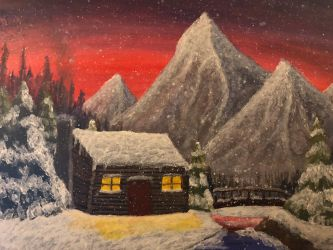 Snow Cabin  by Wolfsongamp