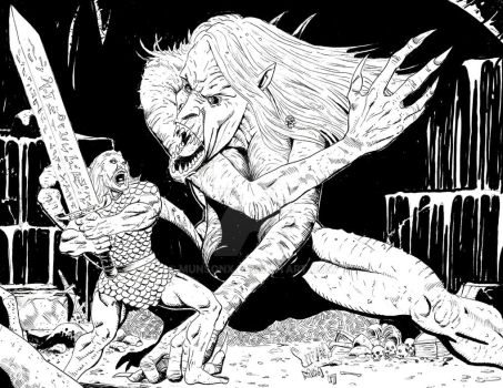 Beowulf vs Grendel's Mother by MunsonX