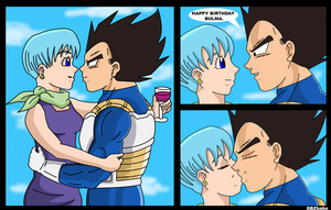 Bulma's Birthday Kiss by Dbzbabe