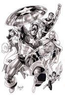 Avengers set 1 ink washed by gammaknight