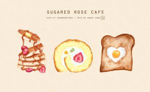 Trio: Pancakes, Cake, Toast [Food Charm Keychains] by AgentRose
