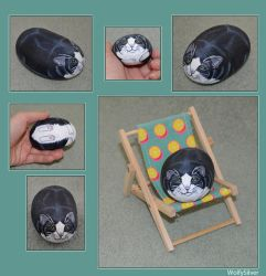 Black and White Cat Stone by wolfysilver