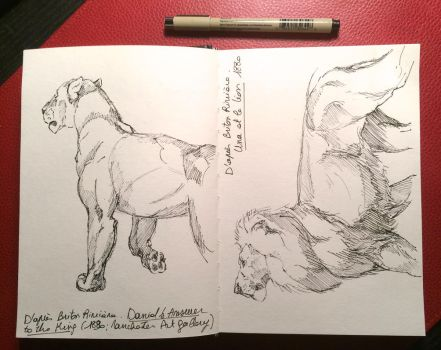 Lion's Sketches after Briton Riviere by ClaireJouy