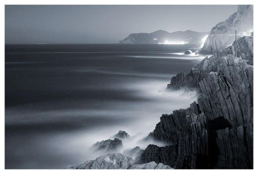 Cinque Terre By Night - BW by knuta
