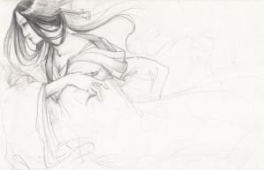 Rough work - Japanese goddess by janey-jane