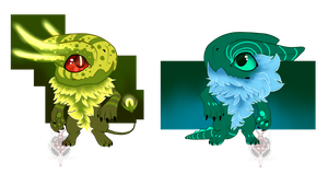 Nyaak Adopts Swampy And Ice Green (1/2 open) by Nano-Core