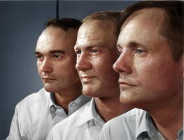 Michael Collins, Buzz Aldrin, and Neil Armstrong by Zuzahin