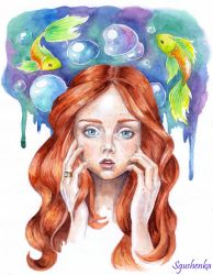 Lily Cole and fishes by Sgus-henka