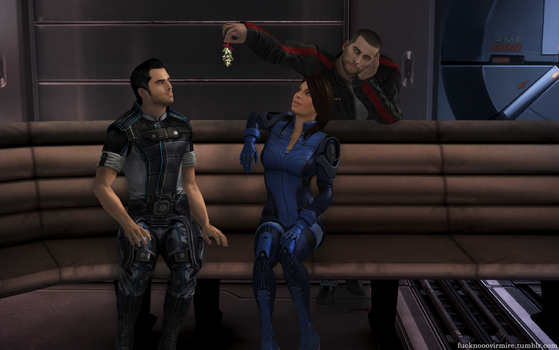 Mistletoe: Kaidan and Ashley and Shepard by Forever-in-a-Day