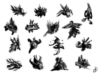 Shapes - Creatures by Llythium-art