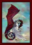 Red Dragon Flying Unicorn Winged Horse Pegasus Sky by StephanieSmall