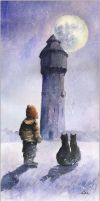 Two little cats and old water tower by sanderus