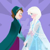 Anna the Snow Princess and Queen Elsa of Arendelle by SandButterbeer