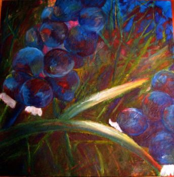 Blueberry Flowers Painting by stephie00180