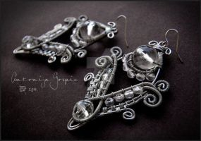 Clear wirewrapped earrings by Faeriedivine