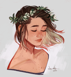 Flowers in her hair by lesly-oh