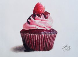 Chocolate Cupcake with raspberry -Colored Pencils by f-a-d-i-l