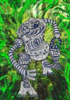 Robot running through the jungle by Dessins-Fantastiques