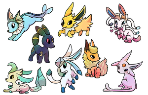 Eeveelution Stickers by Arkay9