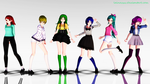 MMD Casual Rainbow 6 Girls +Note Dl by LainazXV