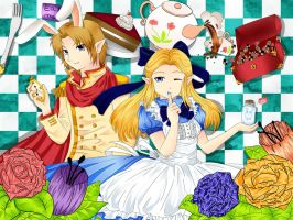 Link and Zelda in Wonderland by OwlLisa