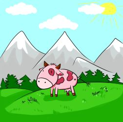 Pink Cow by Linaku