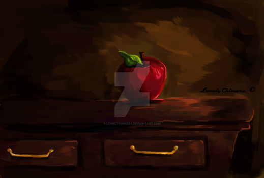 MS Paint: Still life painting of an apple by LonelyChimera