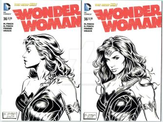 Wonder Woman sketch covers by chickenlegboy