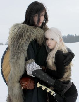 Couple Stock 2, Snow elf+viking by Liancary-art