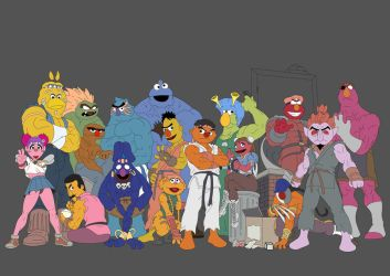 Sesame Street Fighter WIP by sanjota