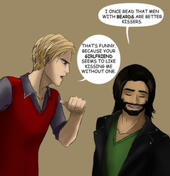Adam and Ezra on beards. by My-lacerated-soul