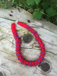 Handmade bright red Japanese seed bead necklace by Naidiriv