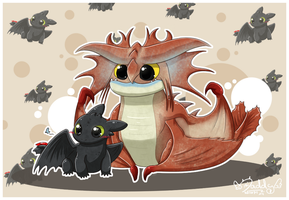 Toothless and Cloudjumper by Isi-Daddy