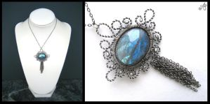 silver labradorite chain medal by annie-jewelry
