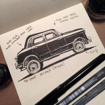 Fiat 1100 car 1953 by Pykodelbi