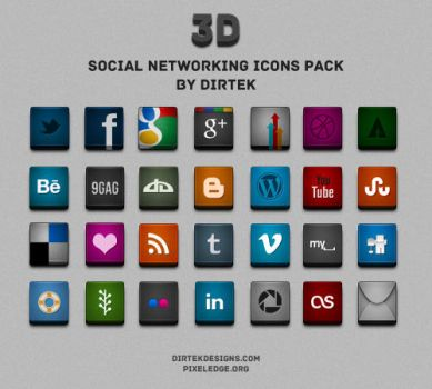 3D Social Networking Icons - FREEBIE by DirTek