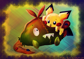 Pichu and Trubbish by MokkaQuill
