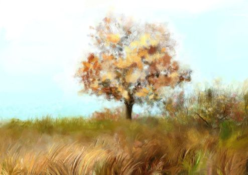 Landscape.Autumn tree. ArtRage by alartstudio