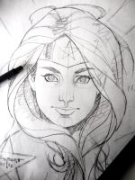 Wonder Woman Con style head sketch - WIP by aethibert