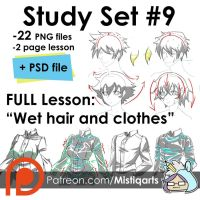 How to draw Wet hair and clothes, study set #9 by Mistiqarts