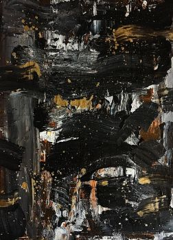 Black and Gold Abstract by sampoozi-art