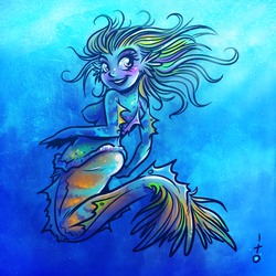 Mermaid with animal reference by petipoa