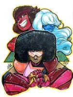 Garnet, Ruby, and Sapphire Cincy Con 2015 by ComfortLove