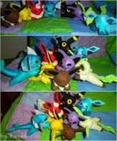 Eeveelutions Mini Plushies by SmileAndLead