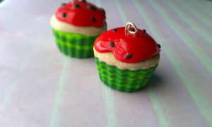 Polymer Clay Watermelon Cupcake by ThingSoSweet