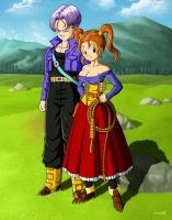 Commission: Trunks and Jessica by R-Legend