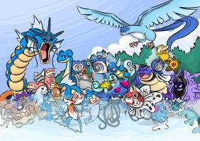 Pokemon Gen 1 Water and Ice Types by dotYAO