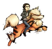 Arcanine and trainer by LazyTurtle