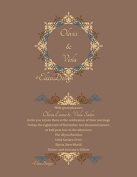 Wedding Invite In Browns, Creams and a Blue by ElixaElixir